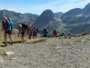 One group at the col, about to cross back into Spain