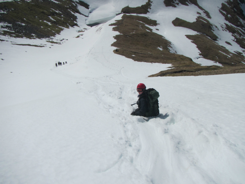 Glissading to the col