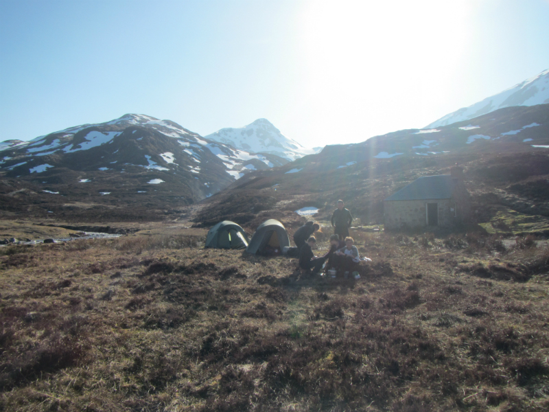 At the Leacach Bothy with Stob Ban in the background