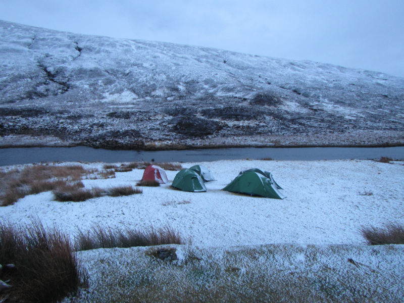 Snow on the tents at Loch Chiarain